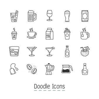 doodle food icons vector coffee cup vectors photos and psd files free