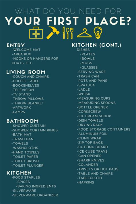 household items list for new home what do you actually need for your first apartment