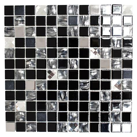 fliesenreste berlin selbstklebemosaik sam 4cm26 30 x 30 cm glas mix schwarz