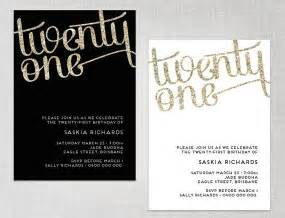 21st invite templates 21st birthday glitter effect invitation black or