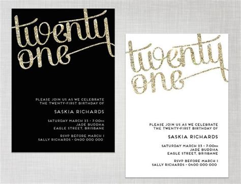 free 21st birthday invitations templates printable 21st birthday gold glitter black or white