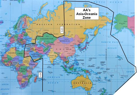 asia oceania map asia and oceania map