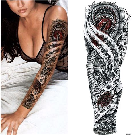 tattoo sleave designs robot arm temporary and black