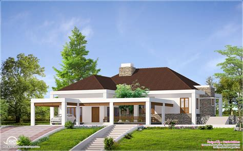 one storey house single floor home with nadumuttam kerala home design