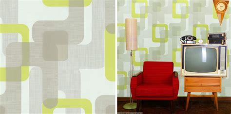 Novara Green Grey Retro Feature Wallpaper Funky Design