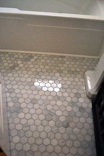marble hex floor tile    small bath space