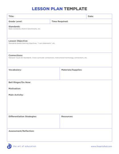 lesson plan template national curriculum designing art curriculum units the art of ed