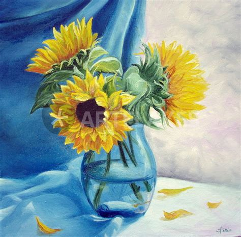How To Draw Sunflowers In A Vase by Quot Sunflowers In Vase Sonnenblumen In Der Vase Quot Painting