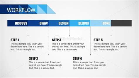 workflow template powerpoint five steps workflow for powerpoint slidemodel