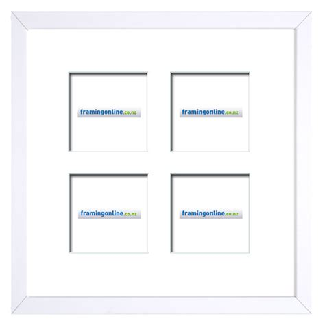 White Frame With Mat by 100x100mm 4 Window White Frame White Mat 52sw 100x100mm