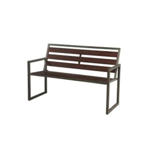 hton bay rockland 4 ft patio bench with arms s k 319pb