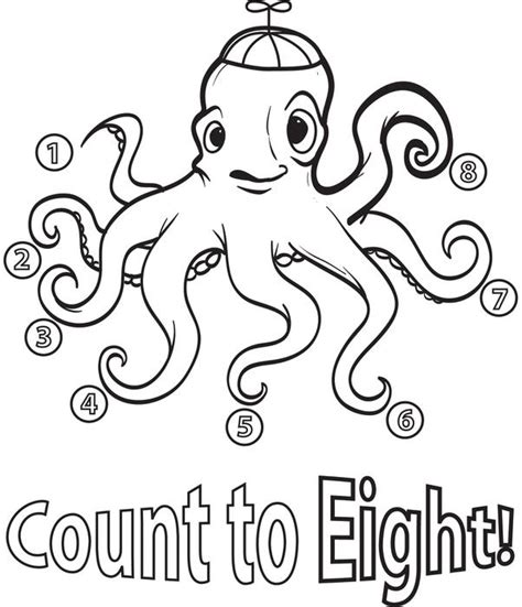 Free Printable Count To Eight Octopus Coloring Page For Kids Counting Coloring Pages