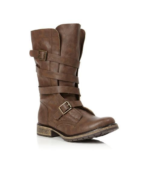 madden boots brown madden razcal mg buckle calf boots in brown lyst