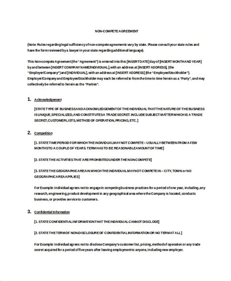 non compete agreement template word vendor non compete agreement template 10 free word pdf