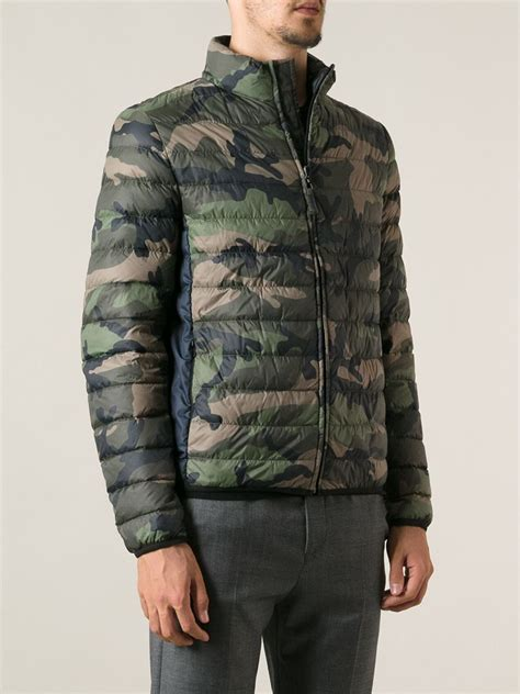 Camo Padded Jacket lyst valentino padded camouflage print jacket in green