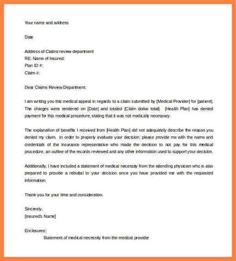 appeal template sle proof of insurance letter appeal