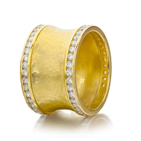Handcrafted Gold Rings - 1 24 carat channel set gold handmade hammered