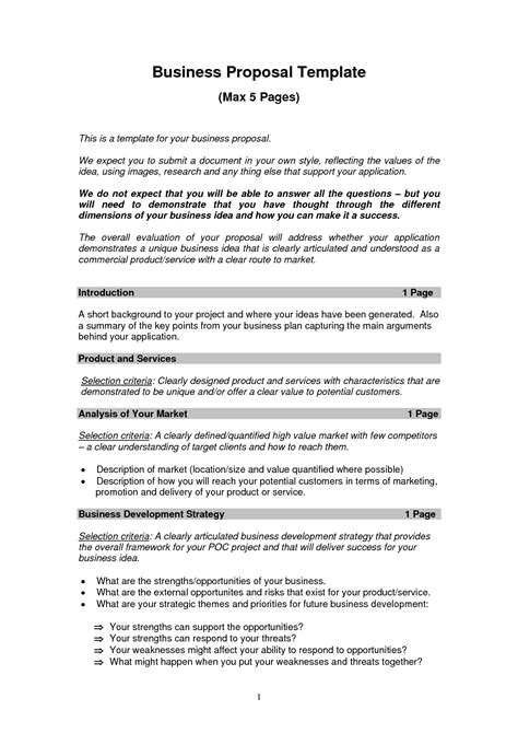 Printable Sle Business Proposal Template Form Forms And Template Business Proposal Sle Business Bid Template
