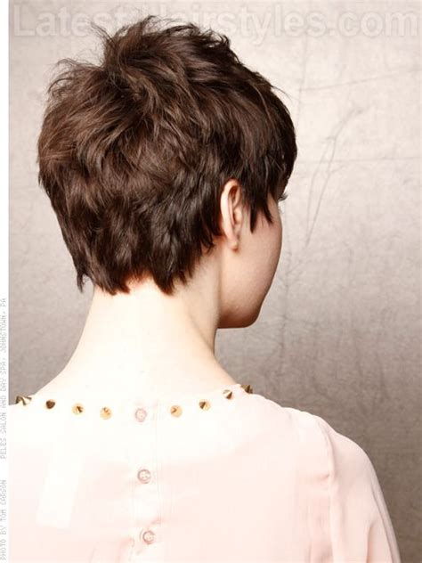 photos of the back of a haircut with a w neckline pixie cut back view hair pinterest style pixie back