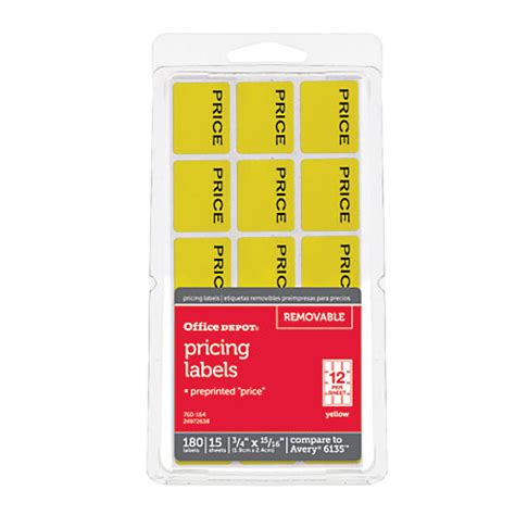 printable stickers office depot office depot brand price tags 34 x 1516 yellow pack of 180