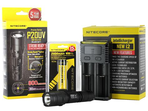 Nitecore P20uv Senter Led Uv Light Cree Xm L2 T6 800 Lumens Black nitecore p20uv ultraviolet flashlight combo cree xm l2 led 800 lumens with battery and charger