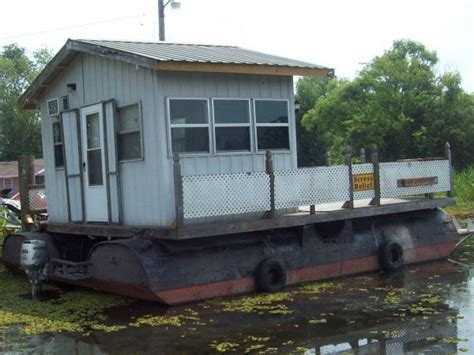 texas flats boats dangerous homemade pontoon barge with cabin 24 l x 18 w approx 28