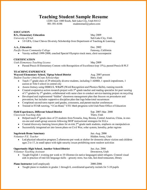 Student Teaching Resume by Student Affairs Resume Sles Resume Ideas
