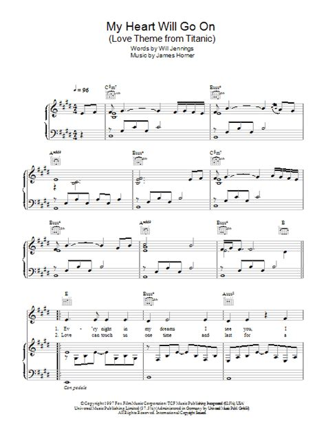 my heart will go on sheet music my heart will go on love theme from titanic sheet