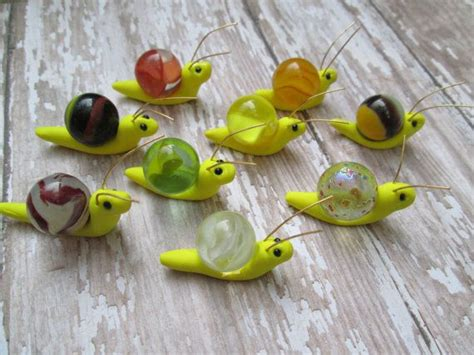 marble crafts for polymer clay snails with copper wire antennaes glass