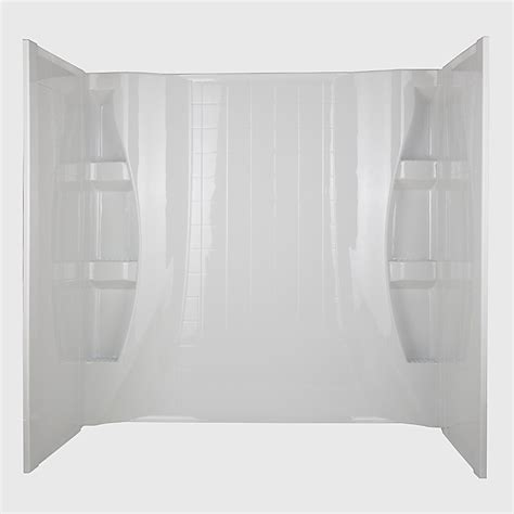 wall surrounds for bathtubs shop aqua glass covi 59 in w x 27 in d x 60 in h high gloss white polystyrene bathtub