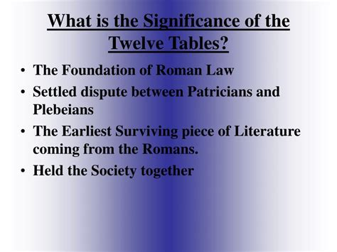 What Was The Significance Of The Twelve Tables ppt of the twelve tables powerpoint presentation