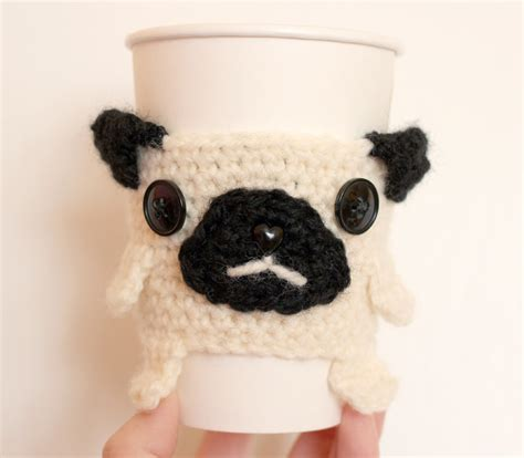 pug cup you can now adopt a pug coffee cup cozy in my shop twinkie chan
