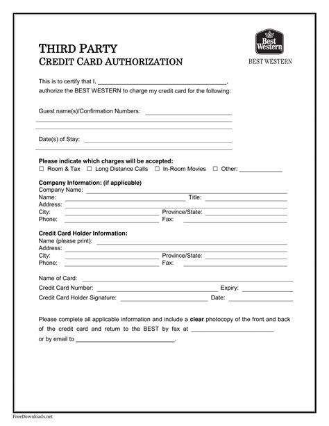 hotel credit card authorization form template best western credit card authorization form