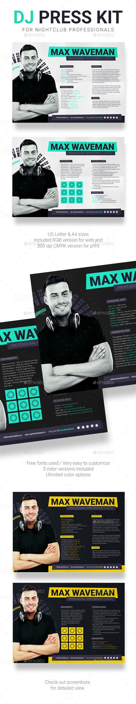 prodj dj press kit rider resume psd template
