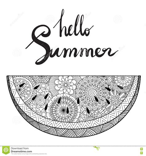 zendoodle of watermelon with hand lettering hello summer