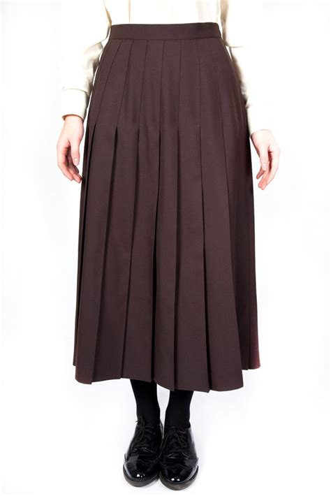 brown pleated skirt dress