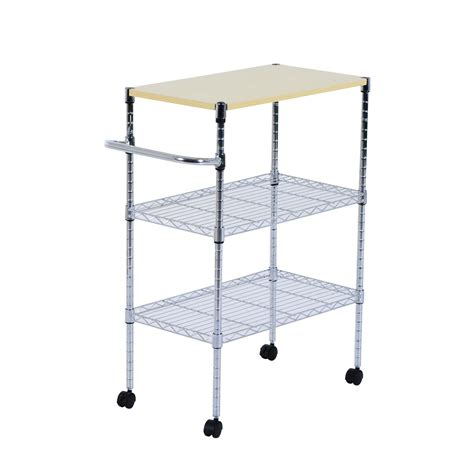 Kitchen Cart With Shelves by Homcom 24 Quot Rolling Trolley Kitchen Cart W Wire Shelf