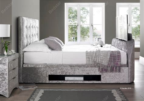 Tv Ottoman Bed Kaydian Design Barnard 4ft 6 Ottoman Tv Bed Silver Velvet