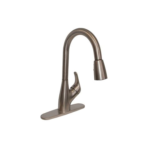 home brushed nickel pulls ez flo single handle pull down sprayer kitchen faucet in