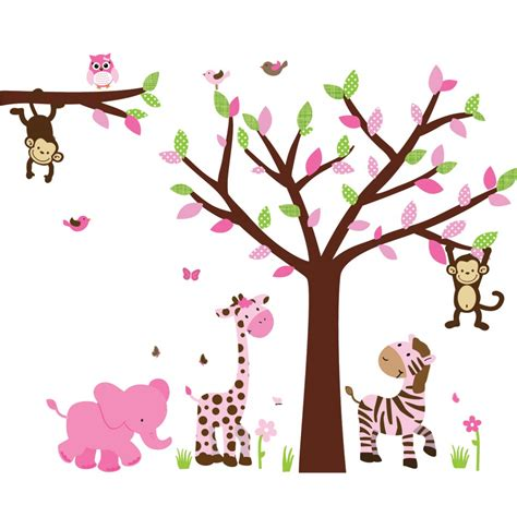 Kids Space Wall Stickers pink amp green jungle wall murals with tree decals for walls