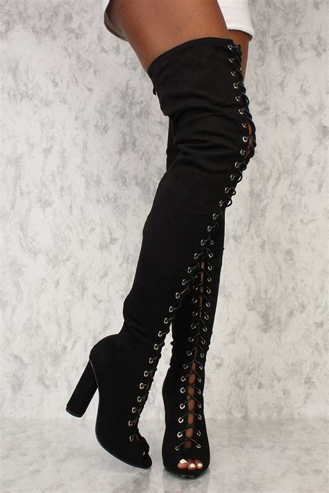 black front lace up thigh high chunky ami clubwear boots