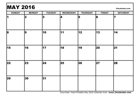 a blank calendar template blank may 2016 calendar in printable format