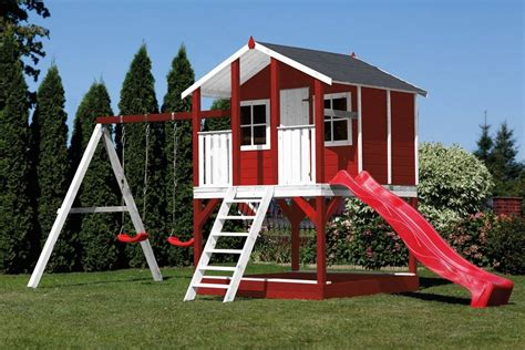 haus kaufen ratenzahlung scheffer outdoor toys stelzenhaus 187 tobi 171 rot rutsche