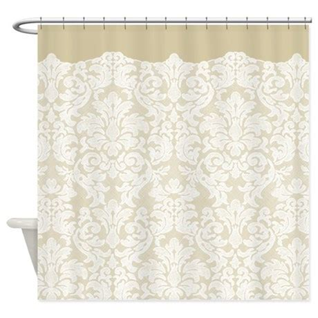 tan and white shower curtain lace pattern white tan shower curtain by marshenterprises
