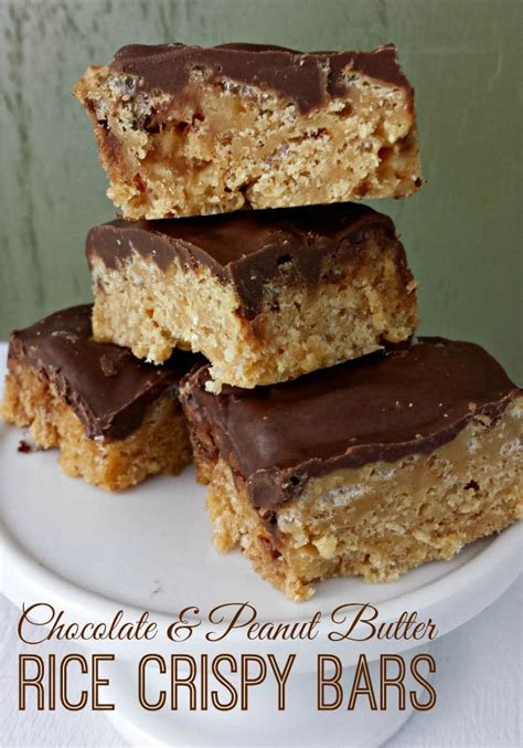 rice krispie bars with chocolate on top chocolate peanut butter rice crispy bars favorite