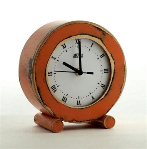 cool desk clock clock desk orange circle wooden clock table cclock by