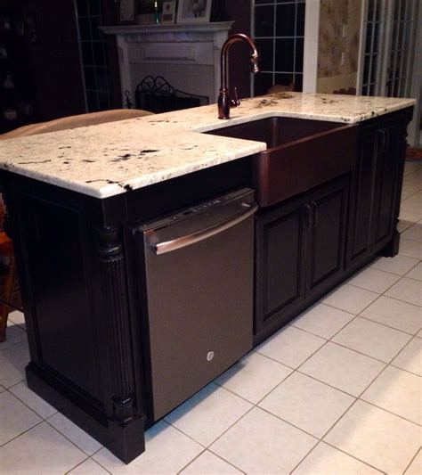 kitchen islands with dishwasher our new kitchen island with ge slate dishwasher colonial