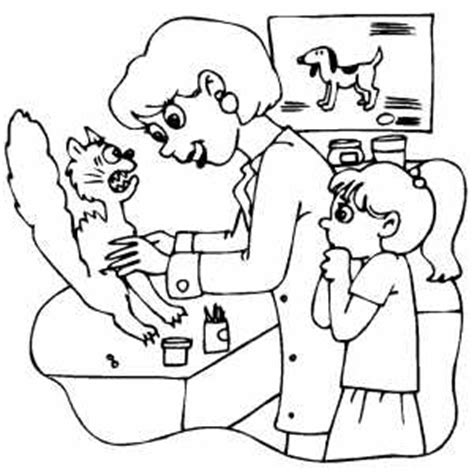 coloring pages veterinarian scared cat at veterinarian office coloring page