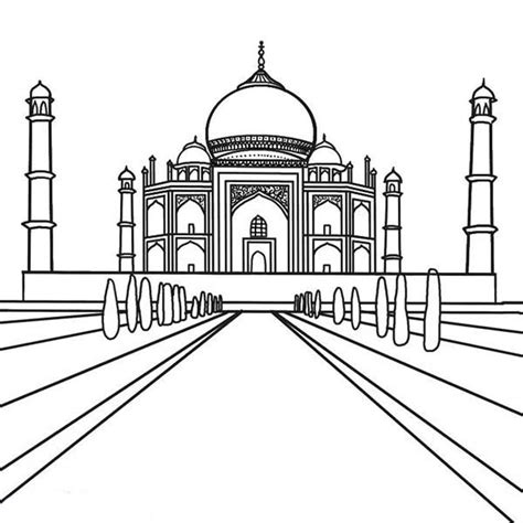 Taj Mahal Coloring Page taj mahal outline coloring pages