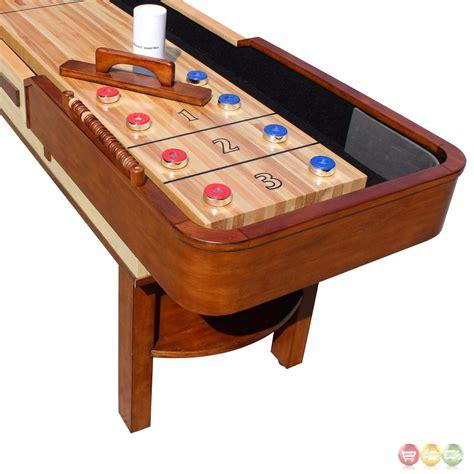 9 ft shuffleboard table merlot 9 ft shuffleboard table in natural walnut w